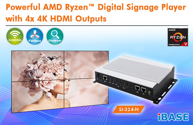 AMD Ryzen™ Embedded V-Series Fanless Signage Player with AMD Vega GPU and Four HDMI
