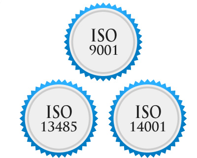 ISO 9001, ISO 13485 and ISO 14001 standards